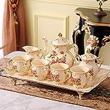 LZZNB- Set da 12 Pezzi di Set da tè in Ceramica, Set da caffè Europeo in Porcellana Nobile Bianca con Stampa Rose, Porcellana Cinese Fatta A Mano, Casa, Arte del Regalo