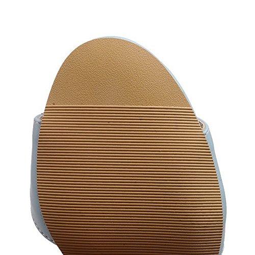 Odomolor Damen Hoher Absatz Weiches Material Schnalle Sandalen Blau