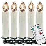 VINGO LED Weihnachtskerzen mit Stecksystem kabellos Innenbereich warm-weiß Baumkerzen Christbaumkerzen 50 Set mit Timer-Funktion