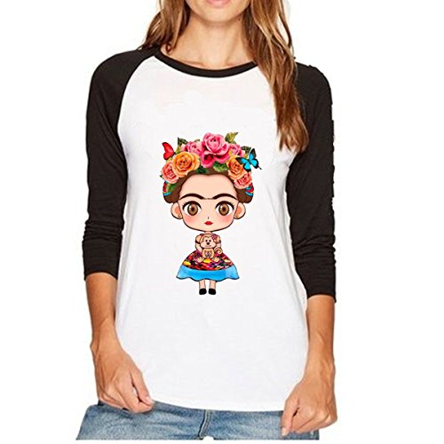 QHDZ otoño Camiseta casual de manga larga para mujer con cuello redondo Raglan de Frida Kahlo Camisa larga de mujer de moda (Color : Azul, tamaño : XL)