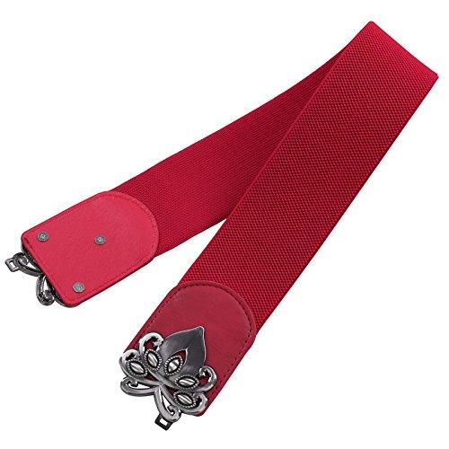 GRACE KARIN Frauen Weit Taille Gürtel Haken Metall Wölbung Befestigung Bund Rot
