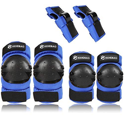Hxhdbao Kinder Skating Knie Pads Elbow Pads Handgelenk Set/Blau (Radfahren Knie-pads)