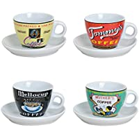 Espresso Set Tazzine da Caffè con Piattini, Moderno, Design retrò