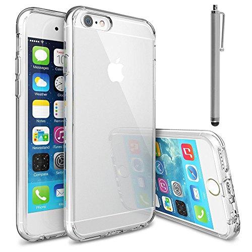 VComp-Shop® Ultra dünne Silikon Handy Schutzhülle für Apple iPhone 6/ 6s + Großer Eingabestift - TRANSPARENT TRANSPARENT + Großer Eingabestift