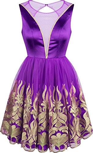 Angel-fashions Damen Juwel A-line Satin Stickerei Falten Kurzes Kleid