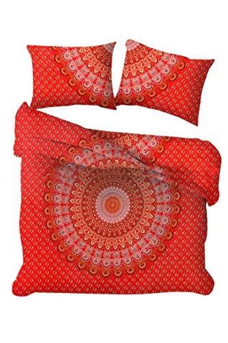 Marusthali Pfau-Mandala-Bettbezug werfen indische handgemachte Donna Decken Reversible Bettwäsche Bettbezug mit 2 Stück Kissenbezug Bett in Einer Tasche mit Bettlaken Set - Donna Werfen