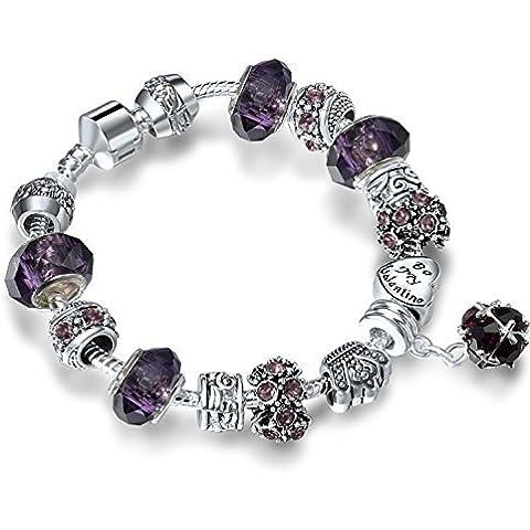 A TE® Charm Pulsera Mujer Púrpura Cristales con Letras Regalos Amor #JW-B11