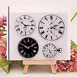 Yiwa Tampon Transparent Transparent Horloge Motif Clair Tampon Coque en Silicone pour Joint DIY Scrapbooking Album Photo décoratifs