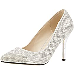 Quiz Damen Diamante Pointed Courts Pumps, silber, 38 EU (5 UK)