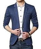 Herren Premium Lässig Slim Fit EIN Knopf Blazer Anzugjacke Sakko (M, Blau)