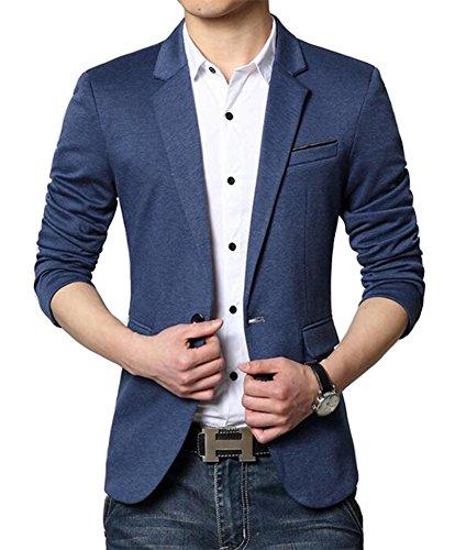Herren Premium Lässig Slim Fit Ein Knopf Blazer Anzugjacke Sakko (S, Blau)