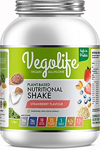 Vegan Protein Powder - Plant Based All-In-One Vegan Shake - Contains 10 Different Fruit & Veg, 23 Vitamins and Minerals, 5 Billion Probiotics and 26g's of Multi-Source Protein - Made in the UK with Wholefood Ingredients - Naturally Flavoured & Sweetened - Keep You And Your Family Health & Happy or Start A New Vegan Diet With Our Delicious Vegan Shakes (Strawberry,