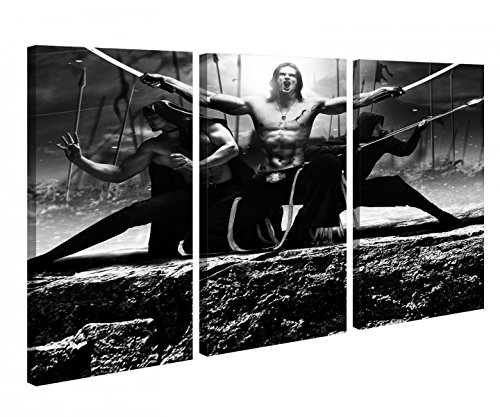 Leinwandbild 3 Tlg. Sport Schwertkampf Samurai Schwert schwarz weiß Fantasy Leinwand Bilder Holz fertig gerahmt 9R864, 3 tlg BxH:120x80cm (3Stk 40x 80cm)