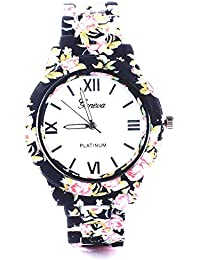 Geneva Balck Floral Print Watch For Women's (Black)