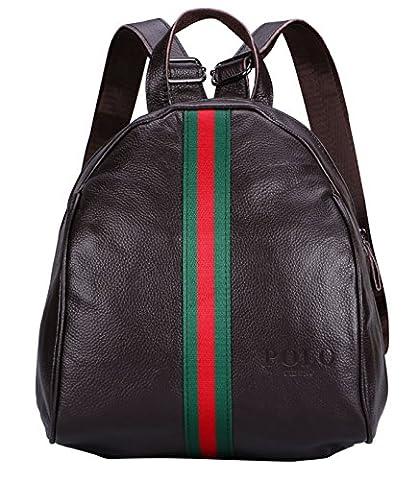 VIDENG POLO Leder Frau Rucksack Neu Damen Beiläufige Tasche für die Schule Reisen Einkaufen Hochschule (Braun-BG1)