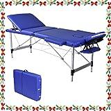 Wellhome 3 Zonen Aluminium Massageliege Faltbar Klappbar Leicht Massagetisch Massagebank Tragbar Höhenverstellbar Massage Bett Professionell mit Verstellbar Kopfstütze, Armlehne, Tragetasche (Blau)