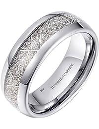 Mens/Unisex 8mm Meteorite Inlay Tungsten Wedding Promise Band Ring