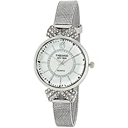 Fabiano New York Silver Analog Wrist Watch for Girls and Women