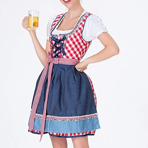 ToDIDAF Kleid mit Verband und Schürze für Damen Frau Mädchen Oktoberfest Thema Bardame Cosplay Kostüme für Halloween Oktoberfest Rot M