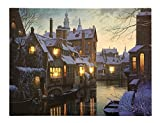 LED Bild Winter Altstadt am Fluß Weihnachten Leinwand Wandbild 28x38cm