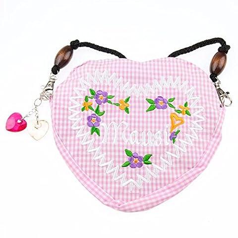 Mausi Blumen Dirndltasche Trachtentasche Handtasche Kariert Oktoberfest Dirndl Tracht Damen Tasche Herz Charm Form Wiesn Dascherl Charme (Rosa)