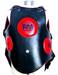 Talla única Negro y Rojo Piel Auténtica ringmasteruk cuerpo protectores