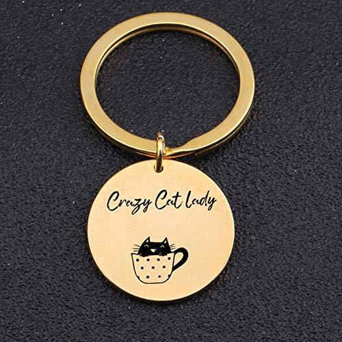DCFVGB Mode Hand Gestempelt Schlüsselbund Graviert Verrückte Katze Lady Frauen KatzenliebhaberSchmuck Geschenk Lustige Anhänger Charme Schlüsselanhänger Inhaber (Schmuck-geschenk-card-inhaber)
