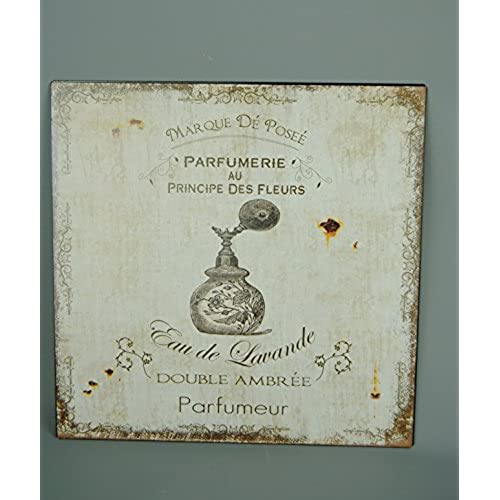 French boutique parfumerie metal plaque cream brown perfume wall art picture
