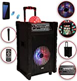 Karaoke Anlage mobile PA Lautsprecherbox Trolley USB SD MP3 Wireless LED DMS® K10-10FZ