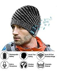 E-More Bluetooth Beanie, Gorro inalámbrico con Gorro de Bluetooth Mujer Hombre Sombreros de Invierno con Auriculares Auriculares…