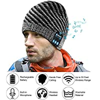 E-More Wireless Bluetooth Hat, Bluetooth Music Beanie Cap, Unisex Winter Warm Hats with Headphone Headset Speaker Mic for Running, Skiing, Skating, Hiking