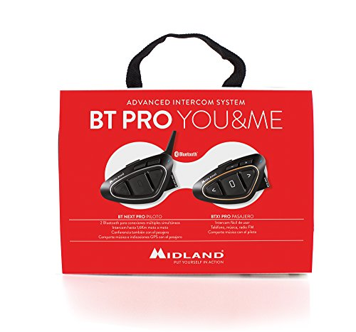 Midland BT Pro You & Me - Intercomunicador para Moto con Altavoces Hi-Fi, Negro