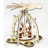 Holz Pyramide mit Bergmannsfiguren, für 4 Teelichte geeignet, ca. 23 cm