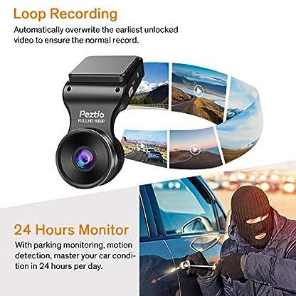 Peztio-Dashcam-Full-HD-1080P-WiFi-Auto-Armaturenbrett-Kamera-mit-Nachtsicht-170-Weitwinkel-WDR-Loop-Aufnahme-G-Sensor-Bewegungserkennung-Parkmonitor