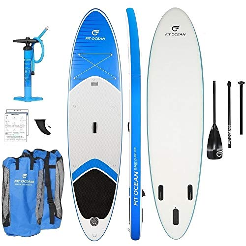 FIT OCEAN Magic Glide 10'8 Aufblasbares 15 cm Dickes Stand Up Paddelboard. Inkl. Doppelhub-Pumpe + guter Rucksack. iSUP 330x81x15cm (Board+Doppel Action Pumpe+Aluminium Paddel+Rucksack)