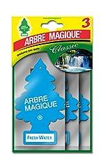 Idea Regalo - Arbre Magique Tris, Deodorante Auto, Fragranza Fresh Water, Profumazione Prolungata fino a 7 Settimane, Confezione Tripla