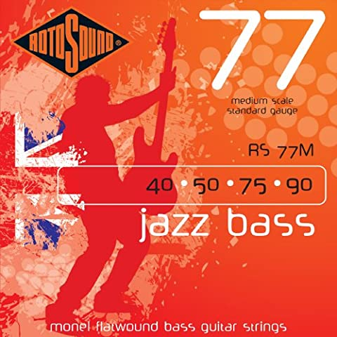 Rotosound Monel Medium Gauge Flatwound Bass Strings Medium Scale (40 50 75 90)