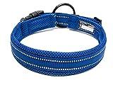 Tineer einstellbare reflektierende Nylon Hundehalsbänder gepolstert weich atmungsaktiv Mesh gepolsterte Halskette Halsband für alle Rassen Hundetraining (M (40-45cm), Blue)