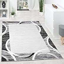 Alfombra De Diseño Para Sala De Estar Con Cenefa Gris Negro Crema Moteado, Grösse:160x220 cm