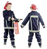 Foxxeo Feuerwehr Kostüm für Kinder Feuerwehrkostüm Jungen Karnevalskostüm Größe:104/110