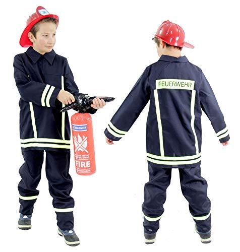 feuerwehrkostuem 110 Foxxeo Feuerwehr Kostüm für Kinder Feuerwehrkostüm Jungen Karnevalskostüm Größe:104/110