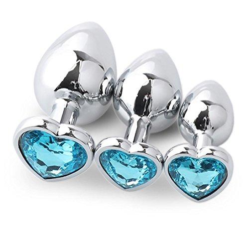 Sisit Prise analogique, 3 Pcs Base en forme de coeur avec bijoux Pierre de naissance Butt-Anal-Play Rose Jewel (Bleu ciel)