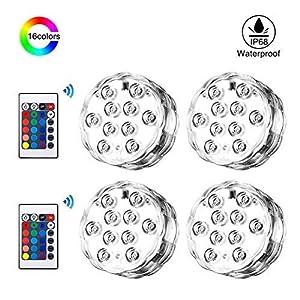 Luce per Piscina Dimmerabile IP68 Impermeabile Batteria Powered, 4LuciLEDPiscina RGB LEDSommergibili Luci Subacquee con 16 Colori, 2*IR Telecomandi, 4 * 10LED per Acquario, Piscina, Soggiorno