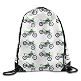 KCOUU Sac à Dos imperméable avec Cordon de Serrage pour Enfants et Adultes Taille Unique Green Dirt Bike Colorful Patterned