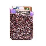 FAN SONG Kreditkarten-Halter aus PU-Leder mit Glitzereffekt, selbstklebend, schlankes Kartenfach mit starkem 3M-Klebeband, universell für Handy, Kunstleder, Glitter-Multicolored, 1-Pack