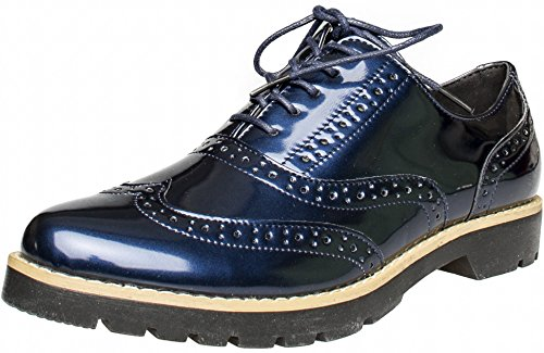 FITTERS FOOTWEAR - Isabelle - Damen Halbschuhe - Lack Blau Schuhe in Übergrößen, Größe:44