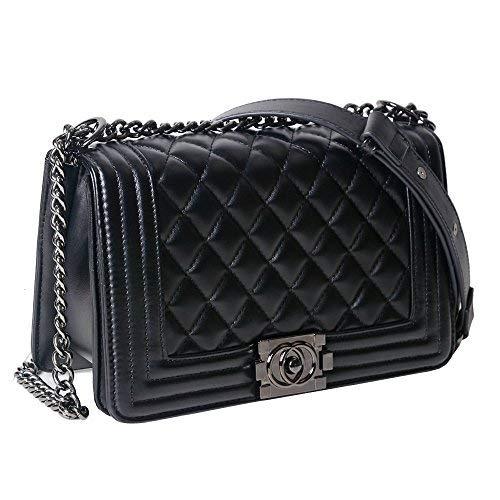 Lady Salon Frauen Karriere OL Handtasche Kariert Kette Tasche Umhaengetasche Mode-Strasse Damentaschen (Hardware-Upgrade,schwarz) - 2