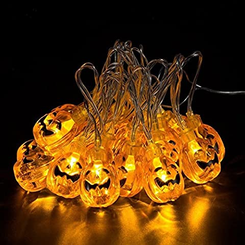 LIVEHITOP Halloween Pumpkin Light String 20 LED 7.2ft 2.2m 3D Pumpkins Rope Lights for Halloween Christmas Festival Party Decorations Gifts, Battery Powered Orange