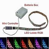 SUNTEC LED Leiste 100CM Stripe Licht RGB Mehrfarbig + Batterie box Batteriebetrieben + Mini Controller für Küche Schrank innen Leuchte Unterbau Streifen LED strip