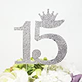 Number 15 Quinceanera Rhinestone Princess Crown Monogram Cake Topper - Sweet 15th Birthday Party (Silver)